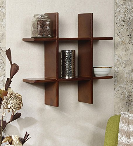 Onlineshoppee Beautiful Wooden Fancy Wall Decor Rack Shelves Size (LxBxH-15x4x15) Inch