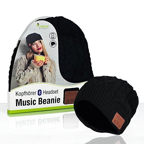 Sharon Music Headset Beanie Bluetooth | Mütze Funkkopfhörer Stereo-Lautsprecher-Mikrofon Wireless Cap | kompatibel mit Smartphone | Schwarz High-cap-akku
