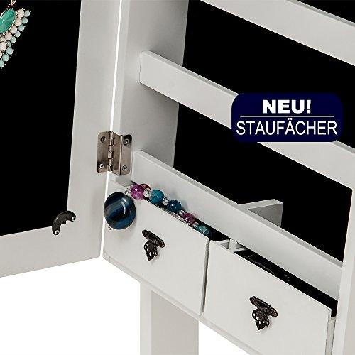 Spiegelschrank weiß + Türgelenk + Schubfächer + schwenkbar - Schmuckschrank Schrankspiegel Standspiegel abschließbar - 5