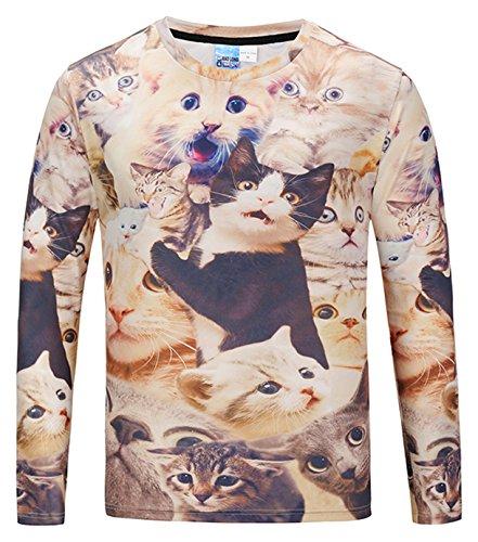 Pizoff Herren langarm Druck T-Shirt mit Bunt 3D katze Tshirt Digital Print (Shirt Denim Katze)