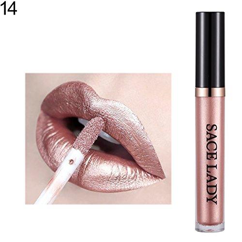 Lucidalabbra Volumizzante By clifcragrocl,Cosmetici di rossetto liquido di lucentezza del labbro di lunga durata di colore metallico di rossetto - 14#