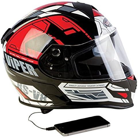 Viper Helmets-Casco Para Moto Integral RSV8 Estéreo 57-58 cm Primo Nero/ Rosso