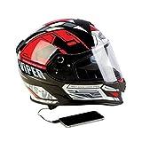 Viper Helmets Motorradhelm Rsv8 Stereo, Prime Black/Red, 57-58 cm