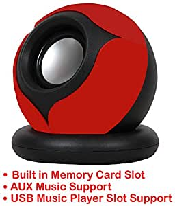 Portable Mini Speaker Supports with Memory Card/USB/AUX Function Compatible For Samsung Galaxy S Duos 2 7562-RED