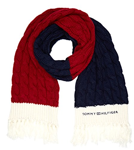 Tommy Hilfiger Damen Schal Chunky Cable Scarf Mehrfarbig (Corporate Clrs 901), One Size