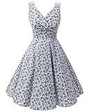 Bridesmay Robe courte vintage rétro Audrey Hepburn années 50 Rockabilly Light Blue Small Flower M