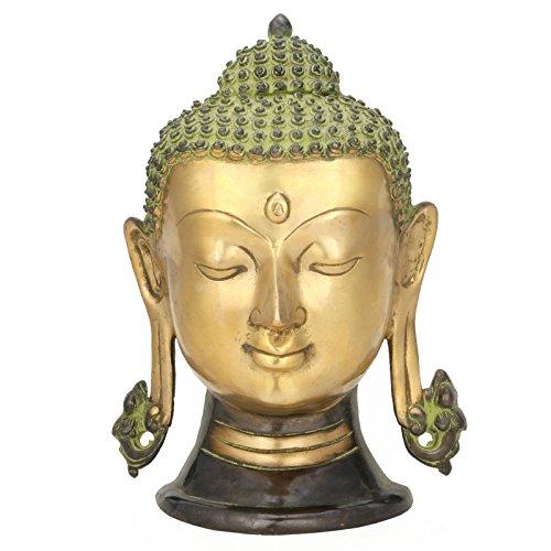 27,9cm Buddha Kopf Büste Wand Speedo Tibetische Messing Art Wand Taucherbrille Buddhismus, Metall Wand aufhängen Himalaya Buddhistische (Antike Tibetische Möbel)