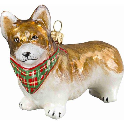 Joy Pembroke Welsh Corgi Standing Dog with Bandana Polish Glass Christmas Ornament -