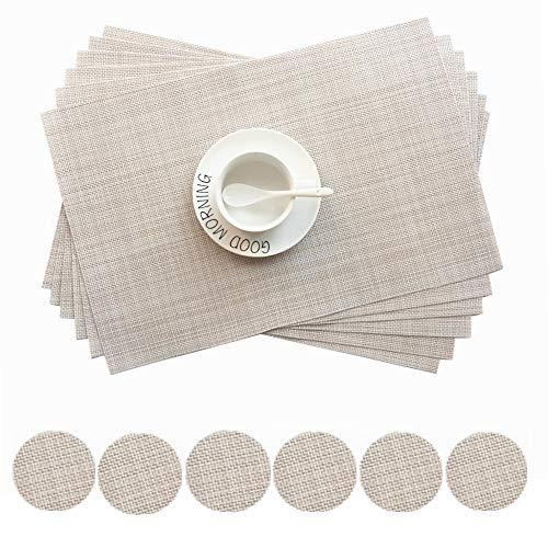 Addfun®Tischsets, Neu PVC Isolierung Rutschfest Isolierung Waschbar Platzdeckchen(Beige, 6er Set)