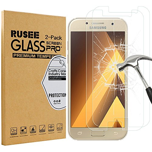 [2 Pack] Samsung Galaxy A3 2017 Screen Protector, Rusee Samsung Galaxy A3 (2017) Tempered Glass [High Definition][Bubble Free][9H Hardness] Screen Protector Film for Samsung Galaxy A3 2017 Test