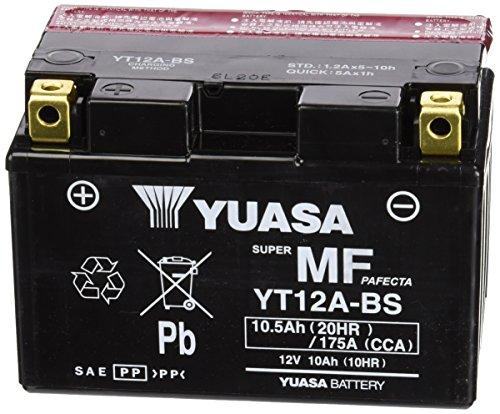 YUASA YT12A-BS Powersports AGM Motorrad Batterie, wartungsfrei (Preis inkl. EUR 7,50 Pfand)