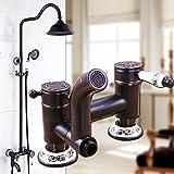 YanCui@ Grifos de ducha Conjunto de ducha de cobre de la elevación continental negro grifo de la ducha