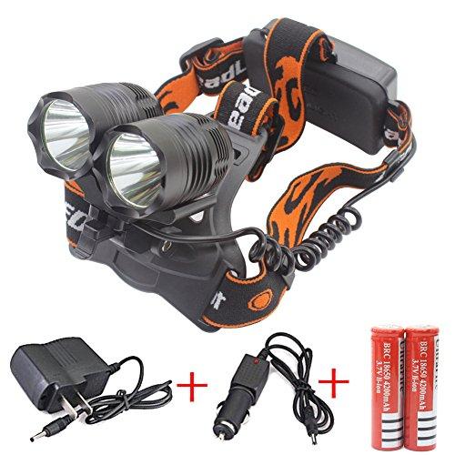 Preisvergleich Produktbild Genwiss 2 X Cree-T6 LED 5000 Lumen 90 Grad Drehung Aluminum Alloy 3 Switch Modi Stirnlampe für Camping Biking Jagen Fischen Reiten Walking (Fügen Sie 2 x 18650 5000 mAh Akkus und Ladegerät)