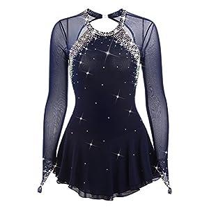 Handarbeit Eiskunstlauf Kleid für Frauen Mädchen, Professionel Rollschuhkleid Wettbewerb Kostüm Langärmelige Dunkelblau Eislaufen Kleid mit Gute Qualität Kristallen