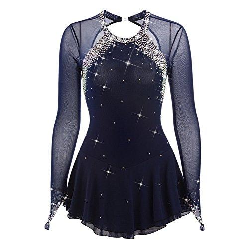 Kleid Eislaufen Kostüm - Handarbeit Eiskunstlauf Kleid für Frauen Mädchen, Professionel Rollschuhkleid Wettbewerb Kostüm Langärmelige Dunkelblau Eislaufen Kleid mit Gute Qualität Kristallen