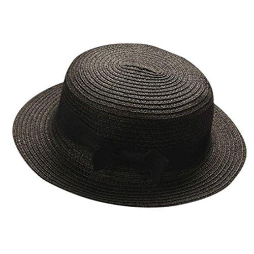 ZARLLE Sombrero De Paja ala Ancha Paja Bowknot Transpirable Sombrero Sombreros para El Sol del Verano Retro Viajes Sombrero Gorra Visera De Sol Playa De NatacióN (Negro, Talla única)