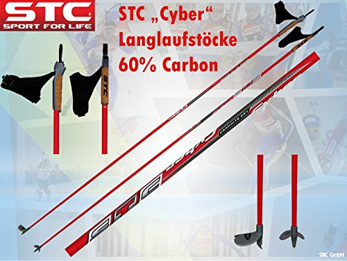 STC 60{986f7480351441b984858b9596505ab92907ea3207d27dd55df24dcbf4b86a32} Carbon Langlauf Stöcke Cyber (145 cm)