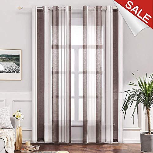 MIULEE Voile Vorhang Transparente Gardine aus Voile mit Ösen Schlaufenschal Ösenschals Transparent Fensterschal Wohnzimmer Schlafzimmer 2er Set 140x225 cm Stripe Dunkelbraun