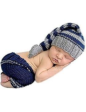 HAPPY ELEMENTS Neugeborenes Baby Jungen Handgemachtes Häkelarbeit Strickendes Kostüm Hut Säuglingsfotographie...