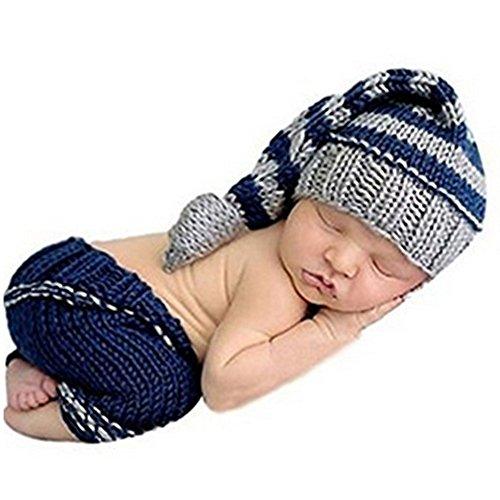 HAPPY ELEMENTS Neugeborenes Baby Jungen Handgemachtes Häkelarbeit Strickendes Kostüm Hut Säuglingsfotographie Stütze (0-12 Monate) (Lange Schwanzmütze)