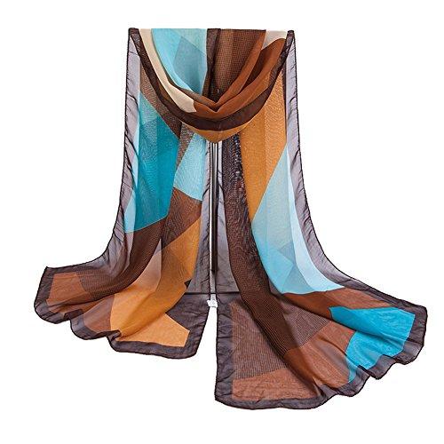 Emorias 1 Stück Schal für Damen Gaze Mode Celosie Fulares Frühling und Herbst weich schmal Schal Accessoires Kleid 160 * 50CM braun Cashmere-gaze