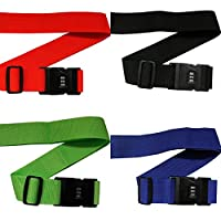 4 Pack Heavy Duty Locking Luggage Straps for Suitcases by Kurtzy - Adjustable Suitcase Belts Set with Strong Plastic Combination Locks - Travel Bag Wrap with Lock & Built-in Name & Address Tag