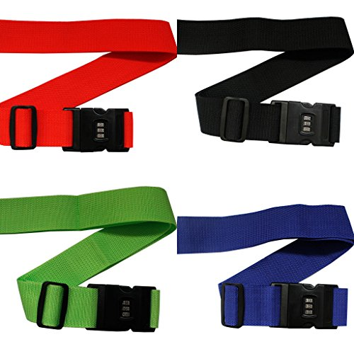 Pack 4 Resistentes Correas con Cierre para Equipaje por Kurtzy - Sets Cinturones Ajustables para Maletas con Fuerte Candado Plástico de Combinación - Candado con Etiqueta de Nombre y Dirección Incorporada