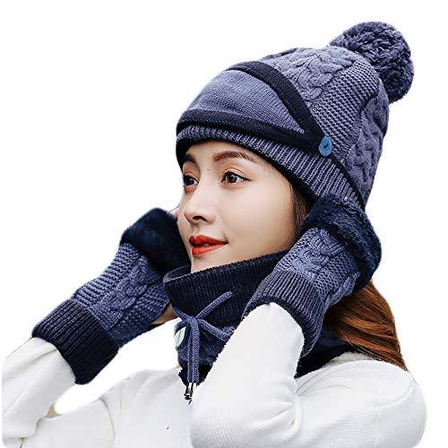 Winter Gestrickter Schal Beanie Mütze und Handschuhe Set Frauen Mädchen Weiche Stretch Hut Schal und Handschuh Set,Blue,4pieceset -