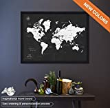 Edle Reise-Weltkarte - Pinnwand weltkarte mit Stecknadeln - personalisiert - Echtholz-Rahmen - DUO tonen - Pin Adventure map