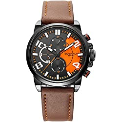 Alienwork Quarz Armbanduhr Multi-funktion Quarzuhr Uhr sport Modernes schwarz braun Leder YH.EOV3061L-02