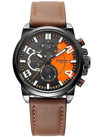 Alienwork Quarz Armbanduhr Multi-funktion Uhr Herren Uhren sport Modernes Leder schwarz braun YH.EOV3061L-02