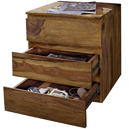 WOHNLING Rollcontainer Sheesham Massivholz Design Schubladenschrank Natur-Holz für Schreibtisch 3 Schubladen Landhaus-Stil Rollwagen Büro 61cm hoch Kommode dunkel-braun Büromöbel Bürocontainer Unikat -