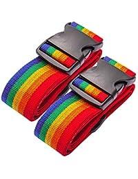 DoGeek Correa Maleta Equipaje de Correa Ajustable Seguridad Candado Correa Viaje Cinturones 2 Pcs(Verde, Naranja