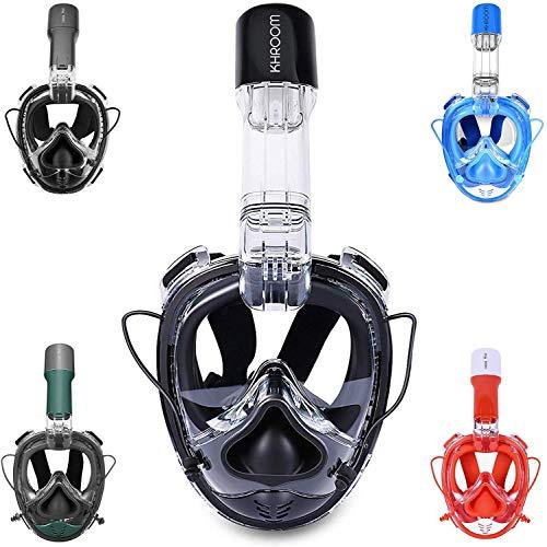 Khroom® Von DEKRA® geprüfte CO2 sichere Schnorchelmaske Vollmaske | bekannt aus YouTube | Seaview X - Tauchmaske für Erwachsene und Kinder. (Hellblau, S/M)