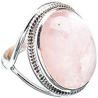 Rosenquarz Silber Ring 925 massiv Sterling Silber handgemachten Schmuck Größe 14 bis 22 DE