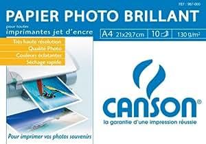 CANSON - Papier jet d'encre, A4, 130 g/m2, blanc, brillant neutre, pour impressions en couleur brillantes pour imprimantes à jet d'encre contenu: 10 feuilles (987