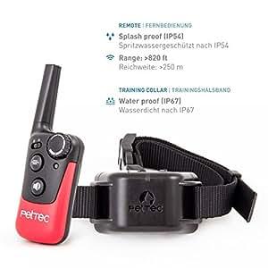 PetTec Remote Vibra Trainer Erziehungshalsband mit Fernbedienung (Tonsignal und Vibration), 250m Reichweite, Antibell Hundetraining, wasserdicht