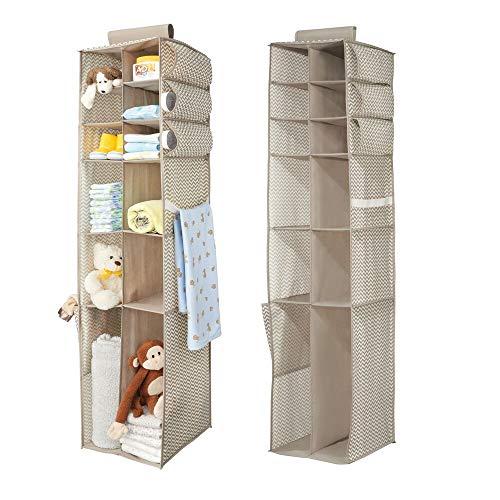 Mdesign portaoggetti in stoffa da appendere - set da 2 organizer armadi per bambini - portaoggetti da appendere con 16 scomparti per vestiti, coperte e giocattoli - colore: talpa/naturale