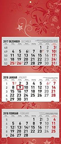 3-Monatskalender Flower Design 2018 - Wandkalender / Bürokalender (34,5 x 80) - faltbar - mit Datumsschieber