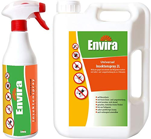 Envira Universal Insektenschutz I Hochwirksames Insekten-Spray Mit Langzeitschutz I Auf Wasserbasis I 500 ml & 2 Liter