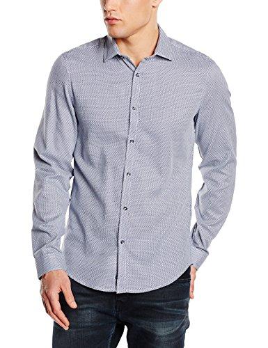 Benetton - Slim, Camicia Uomo Blu (Navy)
