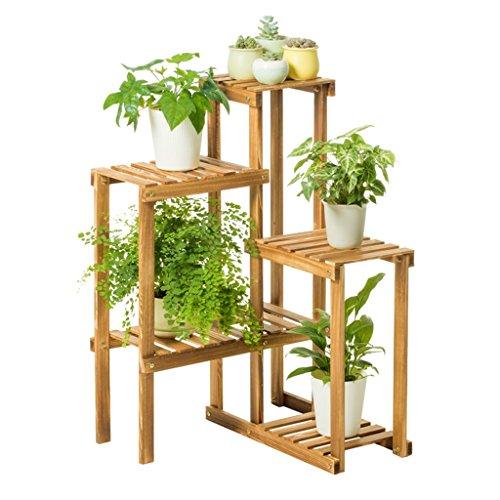 Lxlc fioriera in legno massello verticale fiore stand pianta espositore cremagliera balcone cornice decorativa 58x55x91 cm