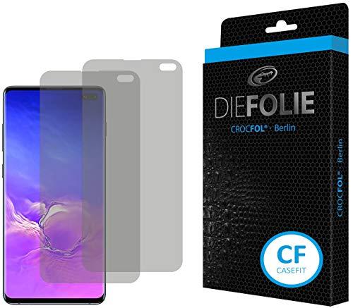 Crocfol Displayschutz für Samsung Galaxy S10 Plus: 2X DIEFOLIE Schutzfolie, 1x DASFLÜSSIGGLAS flüssiges Glas - Casefit Folie, Nutzung mit Schutzhülle