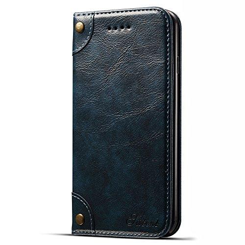 """HARRMS Apple iPhone XS (5,8"""") Leder Hülle Flip Case Handytasche und Brieftasche mit Kreditkarten Kartenfach mit Unsichtbarem Magnet Verschluss Standfunktion, Rot"""