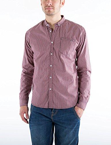 Timezone Herren Freizeithemd Moore Shirt Button Down Rot (Red 5211)