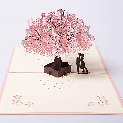 Biglietto 3d,pop up d'auguri carta per matrimonio anniversario san valentino di compleanno natale romantico e per la festa della mamma/anniversario/nozze(ciliegio)