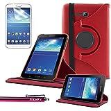 Funda Galaxy Tab 3 Lite 7.0 , SAVFY® - Giratoria 360 grados Stand PU Funda Flip Set para Samsung Galaxy Tab 3 Lite 7.0 SM-T110 + Paño de Limpieza + Protector de la Pantalla + Lápiz Optico (Rojo)