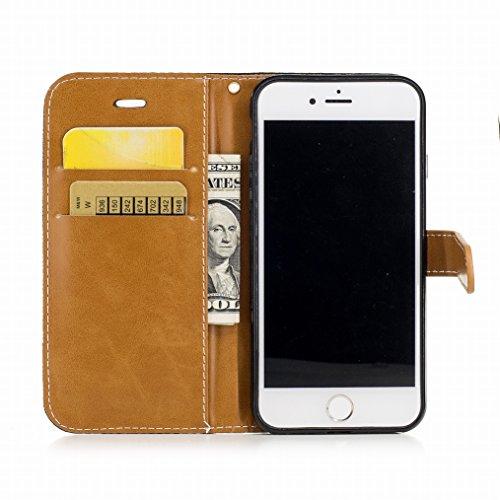 LEMORRY Cover Apple iPhone 7 Custodia Pelle Portafoglio Cuoio Flip Borsa Con Slot per Schede Sottile Protettivo Magnetico Chiusura Morbido Silicone TPU Cover Case, Stile del denim Azzurro Nero