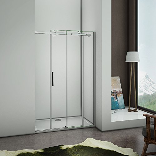Perfect 1200x1950mm Frameless Sliding Shower Enclosure Door 6mm Safety Glass Screen Cubicle