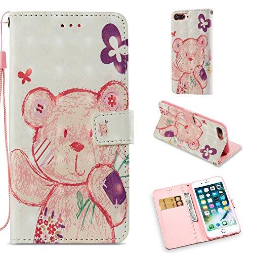 Cozy Hut iPhone 7 Plus / 8 Plus Hülle, Premium Leder Tasche Flip Case [Standfunktion] [Kartenfächern] [Magnet] Schutzhülle Brieftasche Handyhülle für iPhone 7 Plus / 8 Plus - Glücklicher rosa Bär